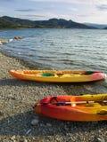 Kayaking in Sant Antoni. Two Kayaks in the reservoir of Sant Antoni, Cataluña (SPAIN Stock Images