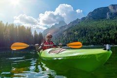Kayaking on the Scenic Lake Stock Photos