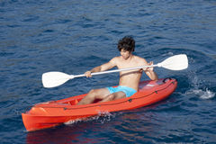 Kayaking on sea stock images