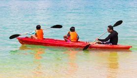 Kayaking in the sea stock photography