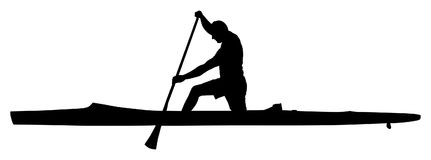 Kayaking silhouette . Canoe or kayak . Sportsmen during race by boat. Kayaking silhouette  isolated on white background. Canoe or kayak . Sportsmen during race Royalty Free Stock Photography