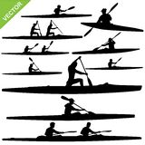 Kayaking silhouettes vector Royalty Free Stock Photo