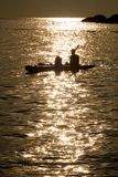 Kayaking silhoutte Royalty Free Stock Images