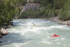 Kayaking on the Sjoa river. Stock Photos