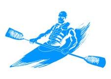 Kayaking. Sketch illustration of a man kayaking Royalty Free Stock Photo