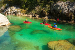 Kayaking on the Soca river, Slovenia Royalty Free Stock Photos