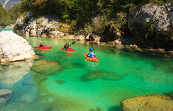 Kayaking on the Soca river, Slovenia Stock Photo