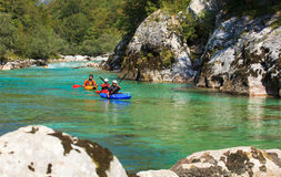 Kayaking on the Soca river, Slovenia Stock Photos
