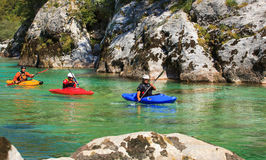 Kayaking on the Soca river, Slovenia royalty free stock photography