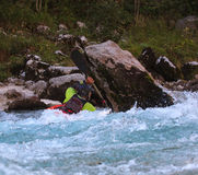 Kayaking on the Soca river, Slovenia Royalty Free Stock Images