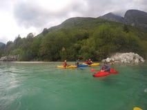 Kayaking Soca rzeka fotografia stock