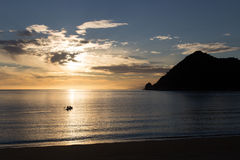 Kayaking at sunrise in Abel Tasman National Park Stock Image