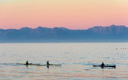 Kayaking after sunset in twilight. Stock Images