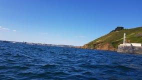 Kayaking in to plymouth devon uk. Kayaking in to plymouth past bovisands fort . Devon uk stock photo