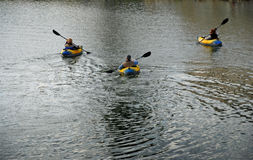 kayaking trio Royaltyfri Foto