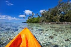 Kayaking at tropical ocean Stock Photography