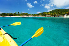 Kayaking at tropical ocean Stock Images