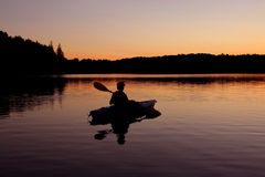 Kayaking at Twilight Royalty Free Stock Photo