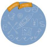 Kayaking uppsättning i blå bakgrund vektor illustrationer