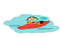 Kayaking. Vector image of cartoon girl and her kayak Stock Photos