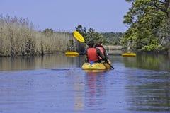 Kayaking w Krajowym rezerwacie dzikiej przyrody na plecy zatoce, Virginia plaża Virginia obraz royalty free