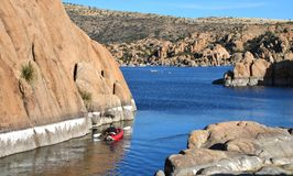 Kayaking at Watson Lake Royalty Free Stock Images