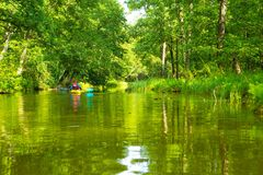 Kayaking by wild river in poland (Omulew river). Kayaking by wild river in forest in poland (Omulew river near Nidzica). Summer recreation stock image