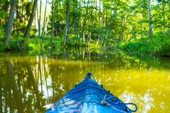 Kayaking by wild river in poland (Omulew river). Kayaking by wild river in forest in poland (Omulew river near Nidzica). Summer recreation royalty free stock image