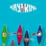 Kayaking wodny sport Płaskiej kreskówki Ilustracyjna wioślarska osoba royalty ilustracja