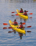 Kayaking. Women kayaking in a calm sea off the coast of Bar Harbor, Maine, USA Stock Photos