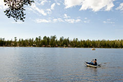 Kayaking on Wrights Lake  Royalty Free Stock Image