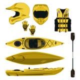 Kayaking wyposażenia i ochronnej przekładni ikony wektorowy set royalty ilustracja