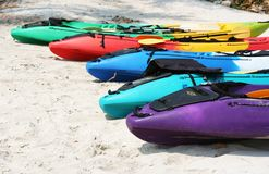 Kayaks. On a beach in Thailand Royalty Free Stock Images