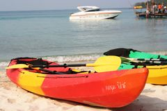 Kayaks. On a beach in Thailand Stock Photos