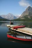 Kayaks. Lakeside kayaks in glacier national park, usa Stock Photography