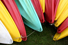 Kayaks. Tied in grass at park royalty free stock photography