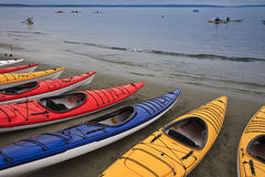 Kayaks. Lined up on beach Royalty Free Stock Image
