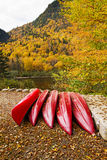 Kayaks in autumn Royalty Free Stock Photography