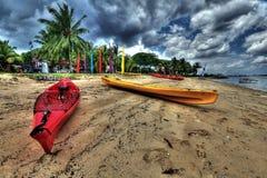 Kayaks on a beach Stock Photo
