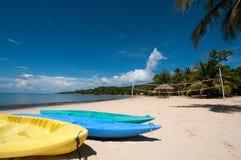 Kayaks on the beach Stock Photography
