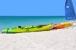 Kayaks on the beach. Royalty Free Stock Photos