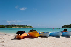 Kayaks on beach Stock Image