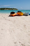 Kayaks on beach Royalty Free Stock Photography