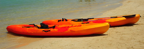 Kayaks on the Beach. Two kayaks on the beach in Jamaica royalty free stock photography