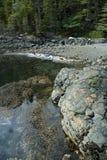 Kayaks at beach. Kayaks parked at the rocky coast at hanson island in canada Stock Photo