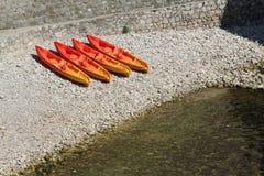 Kayaks on a Beach Stock Photography