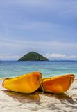 Kayaks on the beach. Two kayaks on the beach. Made in Thailand Stock Photos