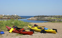 Kayaks on a beach royalty free stock images