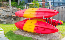 Kayaks on the beach Royalty Free Stock Photo