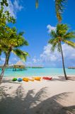Kayaks on the Beach in Bora Bora royalty free stock photography